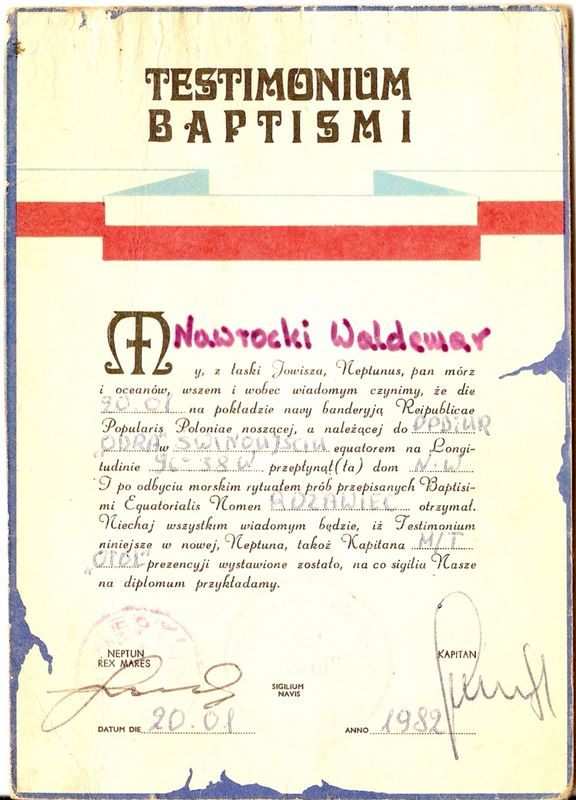 Męskie dowcipy, czyli chrzest równikowy